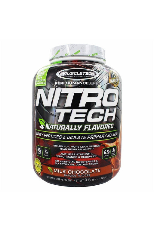 MuscleTech Nitro Tech Naturally Flavored Whey Protein Powder, Milk Chocolate