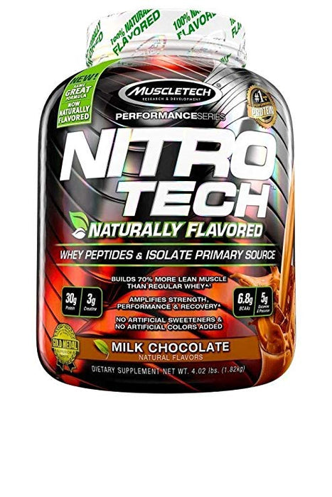 MuscleTech Nitro Tech Naturally Flavored Whey Protein Powder, Milk Chocolate, Serving Size( 46), (1.82Kg)
