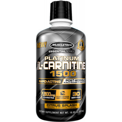 MUSCLETECH PLATINUM 100% L-CARNITINE 1500, Serving 30, Net Wt 473 ml.