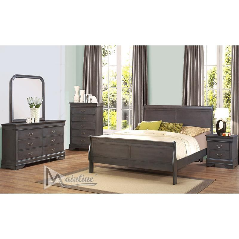 St. Louis Queen Sleigh Bed w/Dresser & Mirror & 1 Nightst