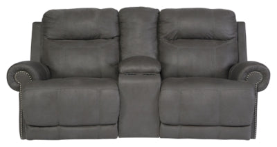 Gray Austere Power Reclining Loveseat with Console