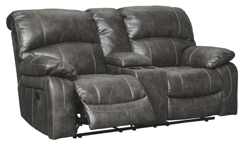 Steel Dunwell Power Reclining Loveseat with Console