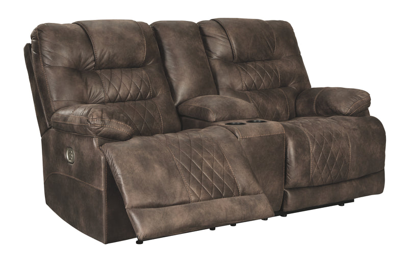 Walnut Welsford Power Reclining Loveseat with Console