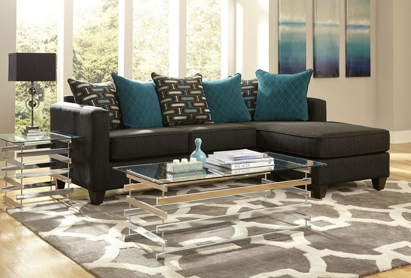 Watson Black and Teal 2-Piece Sectiona