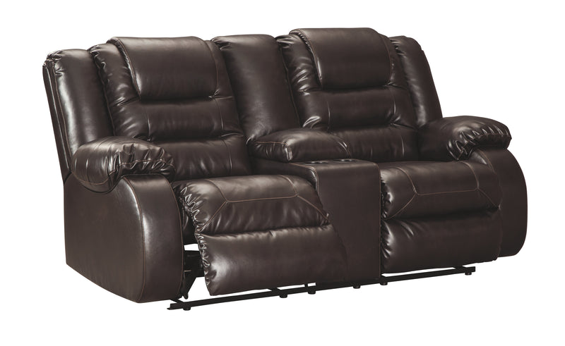 Chocolate Vacherie Reclining Loveseat with Console