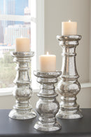 Silver Finish Rosario Candle Holder (Set of 3)
