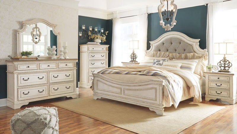 Realyn Two-tone Dresser, Mirror & King UPH Panel Bed