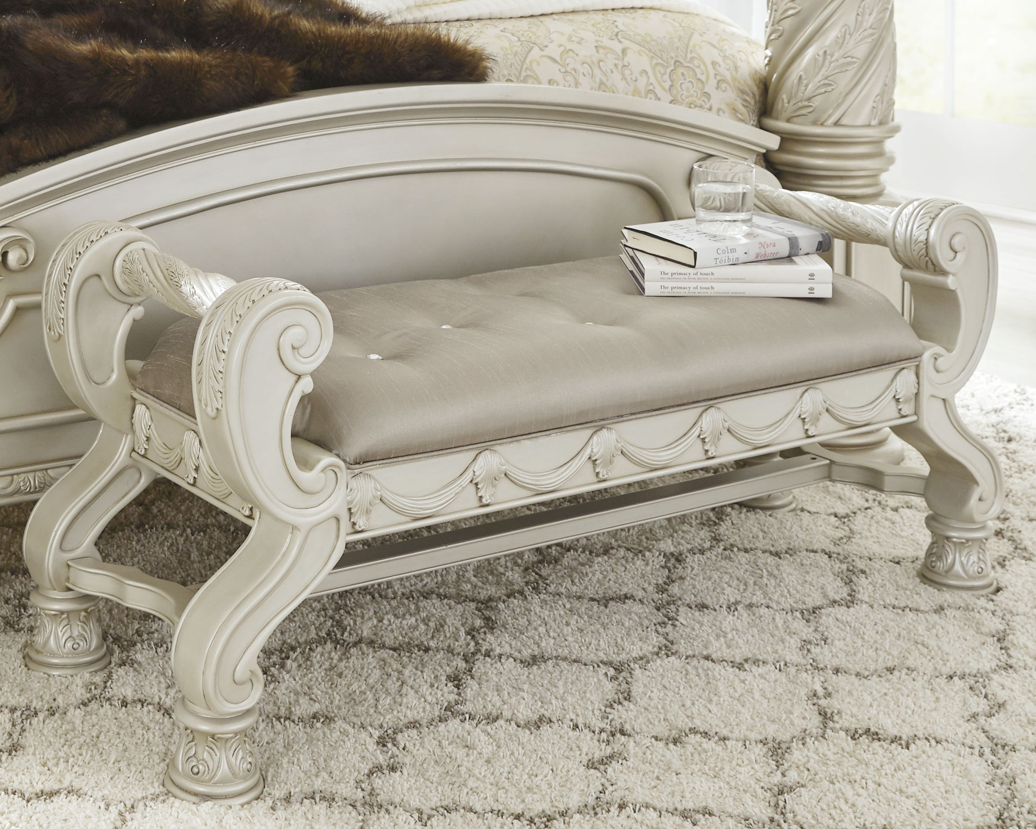 Cassimore Silver Large UPH Bedroom Bench