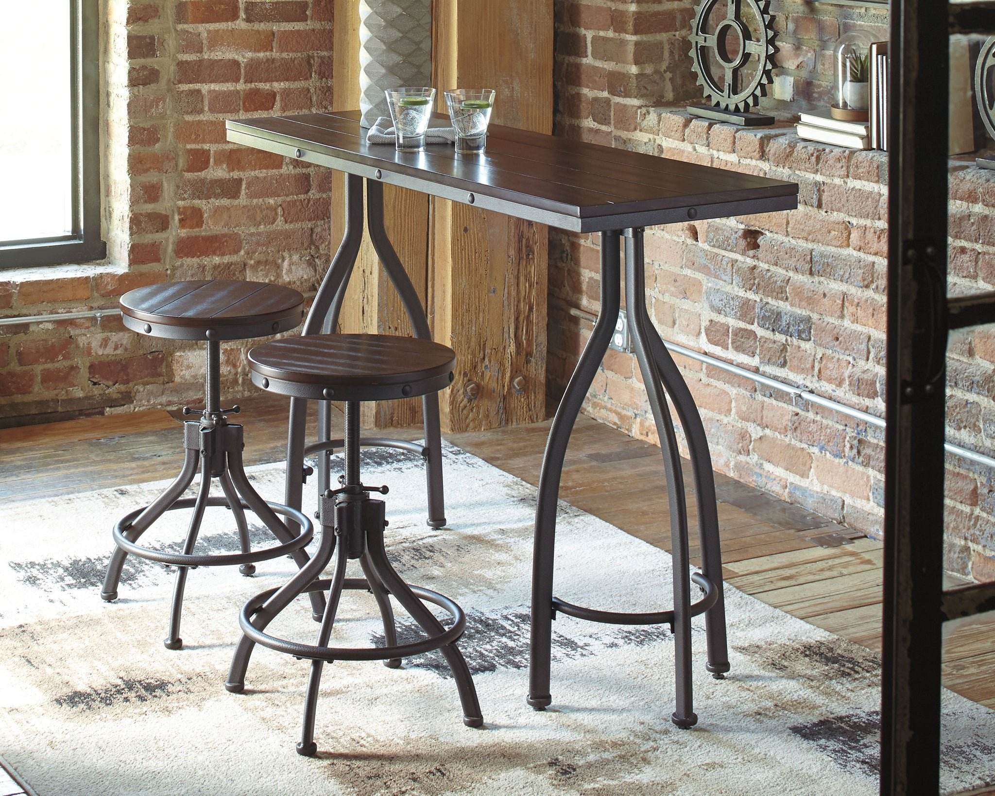 Odium Counter Height Dining Room Table And Bar Stools Set Of 3