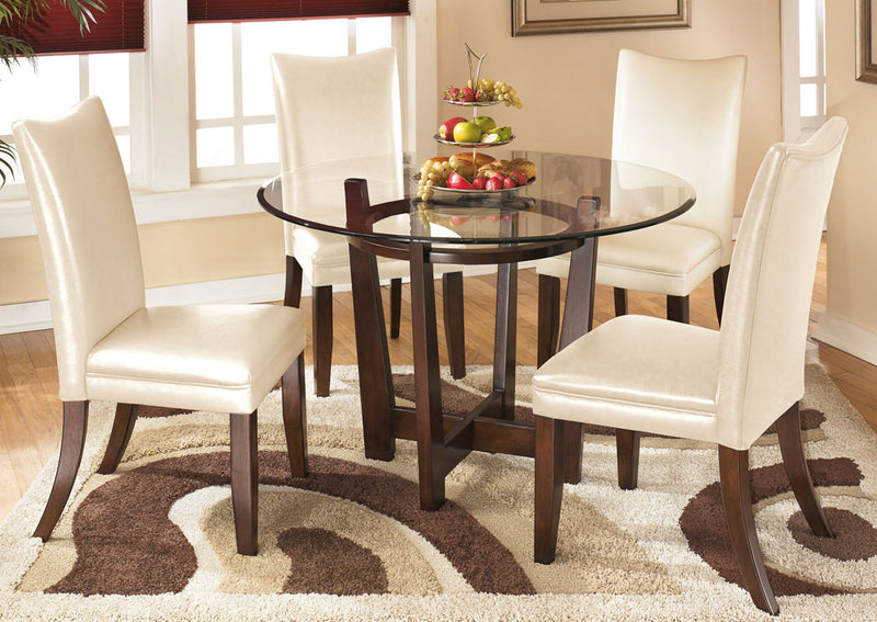 Charrell Round Dinette Set W /4 Ivory Chair