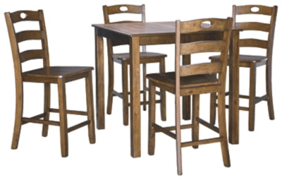 Hazelteen Counter Height Dining Room Table And Bar Stools Set Of 5