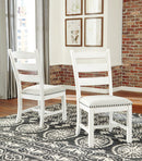 Valebeck Beige/White Dining UPH Side Chair (2/CN)