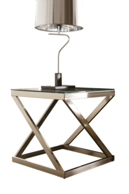 Brushed Nickel Finish Coylin End Table