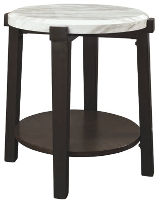 Dark Brown/White Janilly End Table
