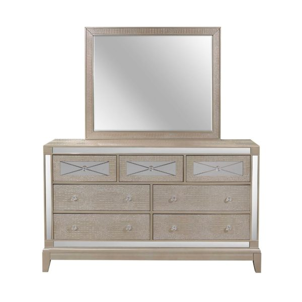 Champagne Queen Bed w/Dresser & Mirror