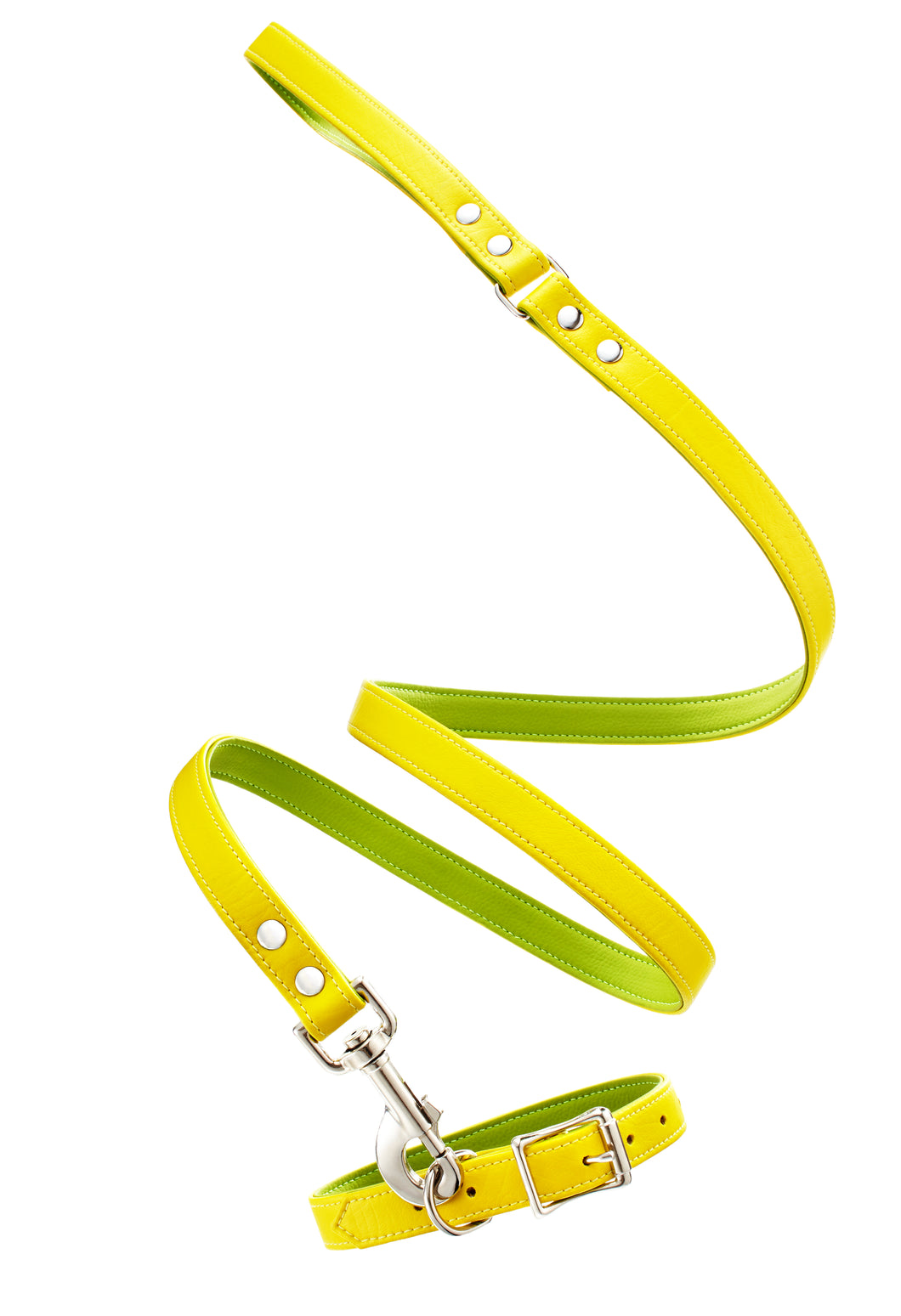 Linda Rodin Linda and Winks Love Mellow Yellow leash and collar set for dogs
