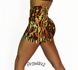 Women's Tiger Butt Scrunch Shorts with a Booty Shaping Effect.