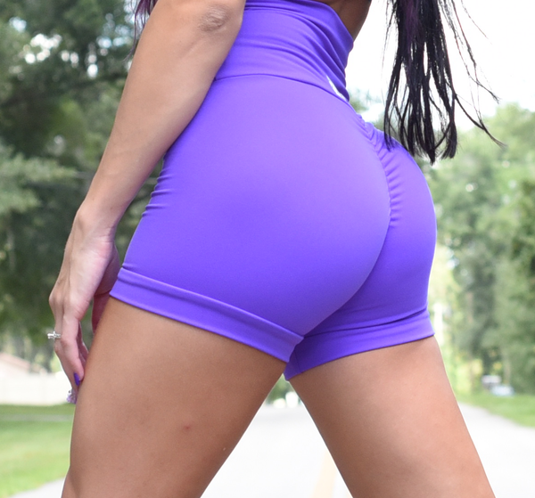 "Women's Purple Butt Scrunch Shorts with a Booty Shaping Effect. ""FITS LIKE A GLOVE COLLECTION"""