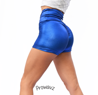 Women's Royal Blue Butt Scrunch Shorts with a Booty Shaping Effect. OUTER SPACE COLLECTION