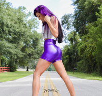 Women's Purple Butt Scrunch Shorts with a Booty Shaping Effect. OUTER SPACE COLLECTION