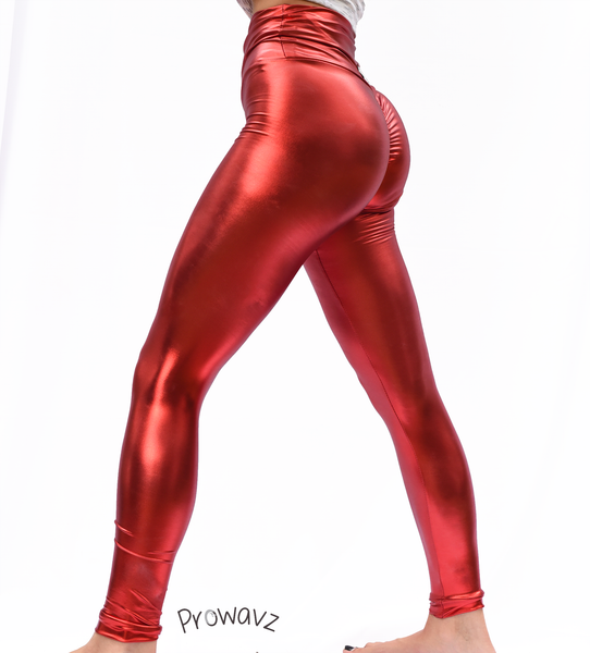 Women's Light Red Butt Scrunch Leggings with a Booty Shaping Effect. OUTER SPACE COLLECTION
