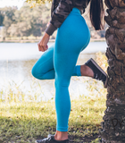 Women's Blue Butt Scrunch Leggings with a Booty Shaping Effect.