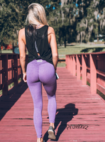 Women's Purple Butt Scrunch Leggings with a Booty Shaping Effect.