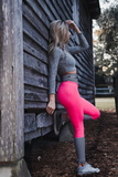 Women's Hot Pink and White Striped Butt Scrunch Leggings with a Booty Shaping Effect.