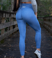 Women's Royal Blue Butt Scrunch Leggings with a Booty Shaping Effect.