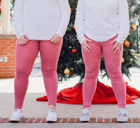 Women's Red Butt Scrunch Leggings with a Booty Shaping Effect.