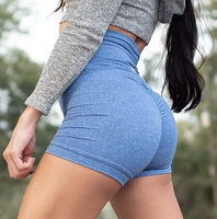 Women's Royla Blue Butt Scrunch Shorts with a Booty Shaping Effect