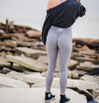 Women's Light Gray Butt Scrunch Leggings with a Booty Shaping Effect.
