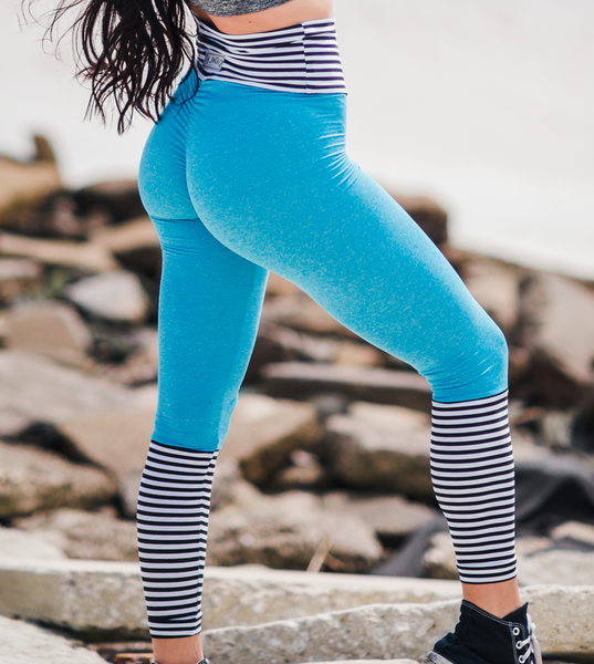 Women's Blue, Black and White Striped Butt Scrunch Leggings with a Booty Shaping Effect.