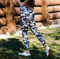 Women's Black and White Camo Butt Scrunch Leggings with a Booty Shaping Effect.