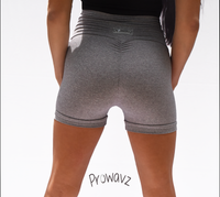 Women's Light Gray Butt Scrunch Shorts with a Booty Shaping Effect