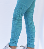 Women's Blue Butt Scrunch Leggings with a Booty Shaping Effect, Scrunch on legs