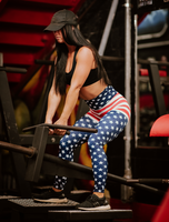 Women's Flag Butt Scrunch Leggings with a Booty Shaping Effect.