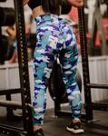 Women's Blue Camo Butt Scrunch Leggings with a Booty Shaping Effect.