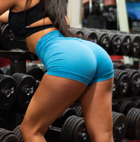 Women's Blue Butt Scrunch Shorts with a Booty Shaping Effect