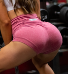 Women's Red Butt Scrunch Shorts with a Booty Shaping Effect
