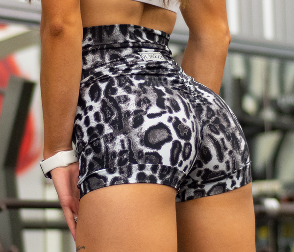 Women's Black and White Cheetah Butt Scrunch Shorts with a Booty Shaping Effect