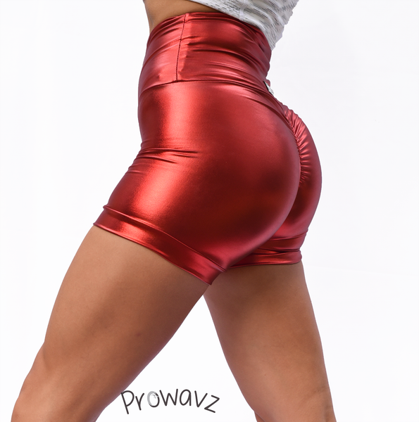 Women's Red Butt Scrunch Shorts with a Booty Shaping Effect. OUTER SPACE COLLECTION