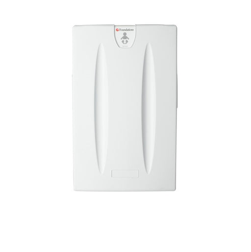 Foundations 100-EV Surface-Mounted, Vertical-Folding Light Gray Baby Changing Station - Allied Hand Dryer