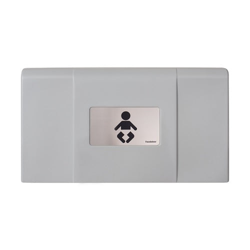 200-EH-01 ULTRA Surface-Mounted, Horizontal-Folding Baby Changing Station (Gray & Stainless)  with EZ Mount Backer Plate - Allied Hand Dryer