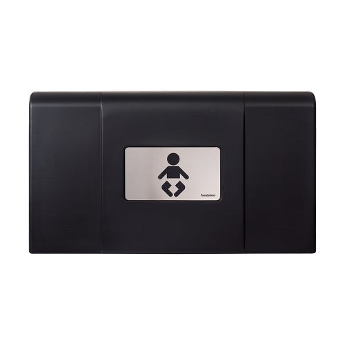 200-EH-02 ULTRA Surface-Mounted, Horizontal-Folding Baby Changing Station (Black & Stainless) with EZ Mount Backer Plate - Allied Hand Dryer