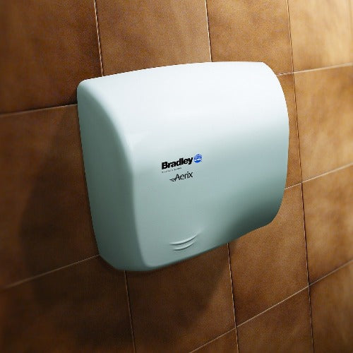 Bradley Aerix Model 2902-2873 Hand Dryer Steel White Epoxy Universal Voltage ADA