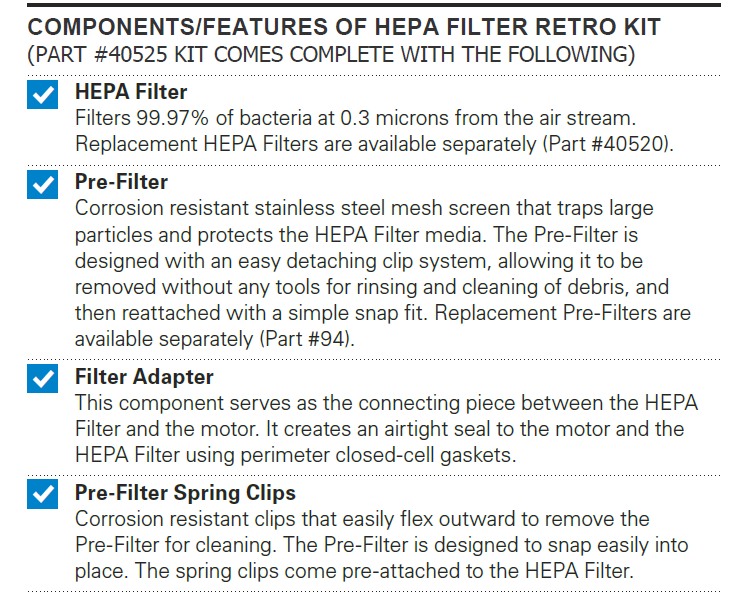 40525, Excel XLERATOR Certified HEPA Filter Retro Fit Kit - PART #40525