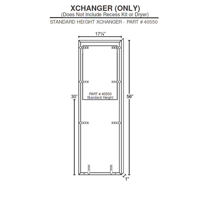 40550, Excel XLERATOR Stainless Steel (Std. Height) XChanger Only (40502 ADA Compliant Recess Kit NOT INCLUDED)