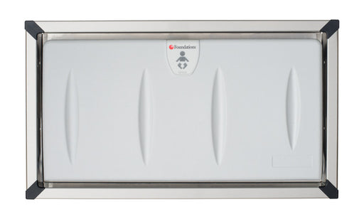 Foundations Model 5240259 Recess-Mounted, Horizontal-Folding Baby Changing Station with Stainless Steel Flange - Allied Hand Dryer