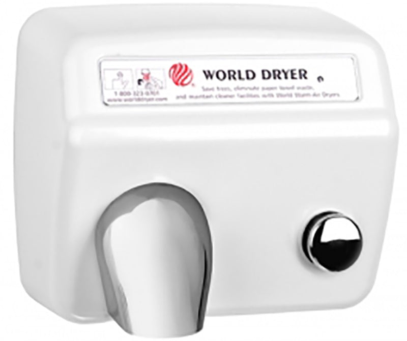 A5-974, World Dryer Push-Button Cast Iron White